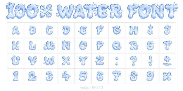 Fonte de água dos desenhos animados. conjunto de vetores de letras, números, sinais de pontuação e porcentagem. caracteres azuis e dígitos de formas líquidas. mão de alfabeto inglês engraçado desenhada com uma caneta esferográfica. Vetor Premium