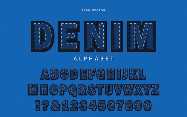 Fonte de alfabeto azul jeans textura Vetor Premium