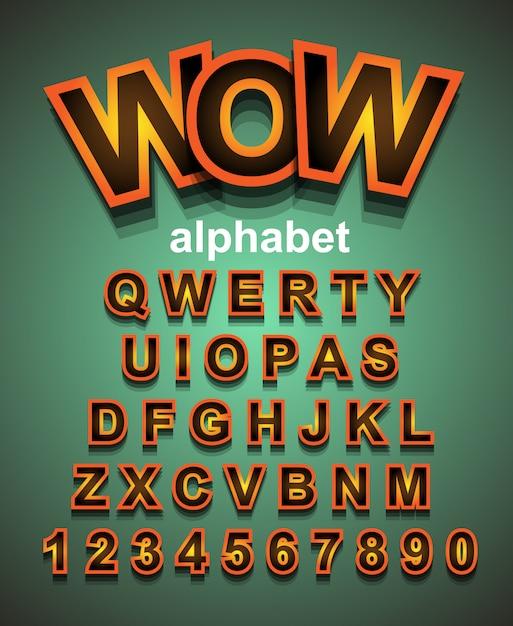 Fonte de alfabeto de efeito dourado com letras e números Vetor Premium