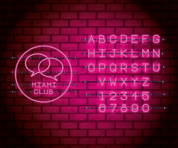 Fonte de alfabeto de luzes de néon Vetor Premium