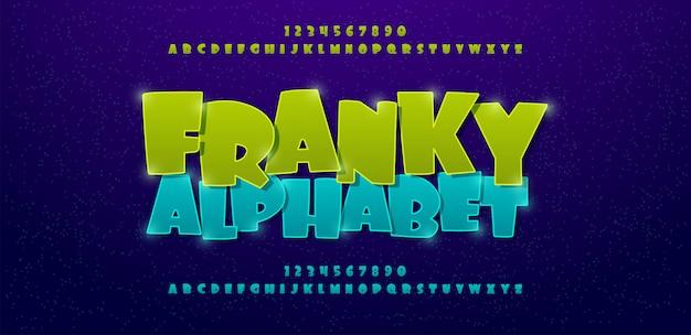 Fonte de alfabeto de quadrinhos franky Vetor Premium