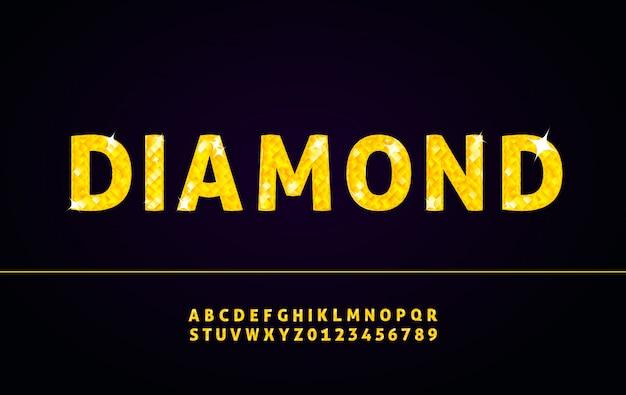Fonte de alfabeto diamante com letras e números Vetor Premium