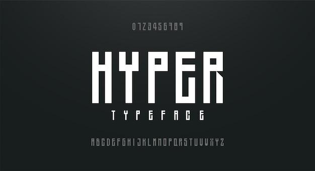 Fonte de alfabeto fonte alta, alta e condensada Vetor Premium