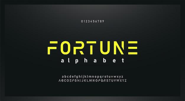 Fonte de alfabeto futuro urbano moderno e conjunto de números Vetor Premium