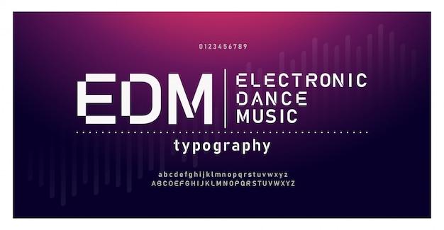 Fonte de alfabeto moderno de música digital. tipografia emd Vetor Premium