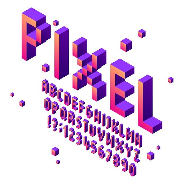 Fonte de arte isométrica pixel. alfabeto de fontes de jogo arcade, jogo retro letras tipográficas cúbicas sinal e conjunto de vetores de números de pixels Vetor Premium