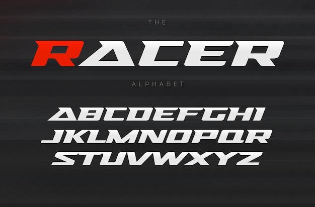 Fonte de corrida, design de letras agressivas e elegantes. letras dinâmicas, fonte ampla em itálico com serifas modernas, alfabeto de esportes. tipografia. Vetor Premium