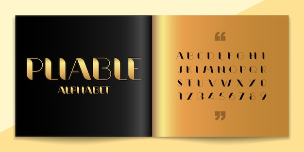 Fonte de elegância e conjunto de alfabeto. Vetor Premium