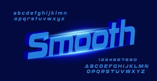Fonte de espaço abstrato tecnologia e alfabeto numérico com letra suave Vetor Premium