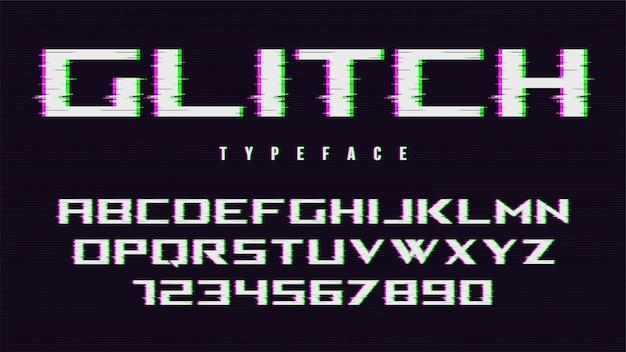Fonte de estilo distorcido falha, alfabeto, tipo de letra, t Vetor Premium