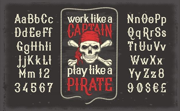 Fonte de estilo vintage branco, o alfabeto latino com impressão pirata retro com crânio e crossbones Vetor grátis