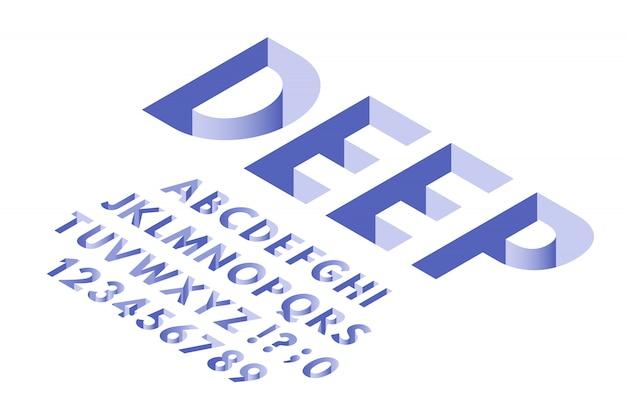 Fonte de furo isométrico. letras do alfabeto de tipografia de buracos profundos, números de fontes 3d e letras na moda vector conjunto de símbolos Vetor Premium