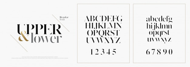 Fonte de letras do alfabeto moda elegante Vetor Premium