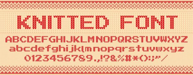 Fonte de malha. camisola feia de natal, cartas de malha e blusas folclóricas xmas texto modelo ilustração conjunto Vetor Premium