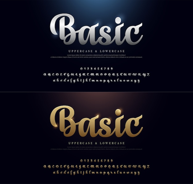 Fonte de ouro e prata estilo clássico tipografia definida para logotipo Vetor Premium