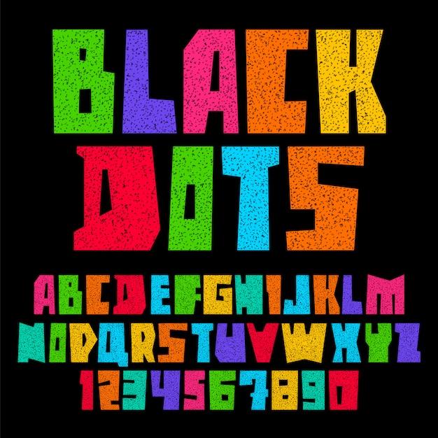 Fonte de papel cortado pontos pretos Vetor Premium