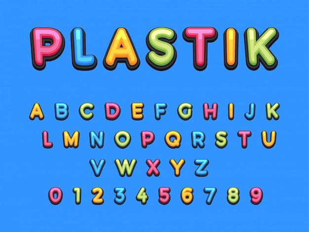 Fonte de plástico dos desenhos animados de crianças. Vetor Premium