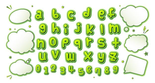 Fonte de quadrinhos, alfabeto verde no estilo da pop art e conjunto de bolhas do discurso Vetor Premium