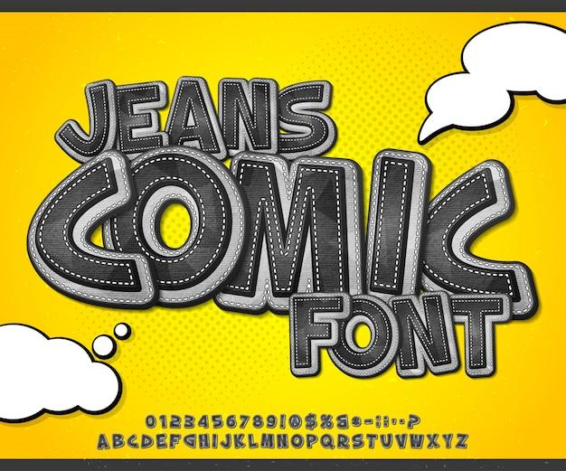 Fonte de quadrinhos jeans em estilo pop art Vetor Premium