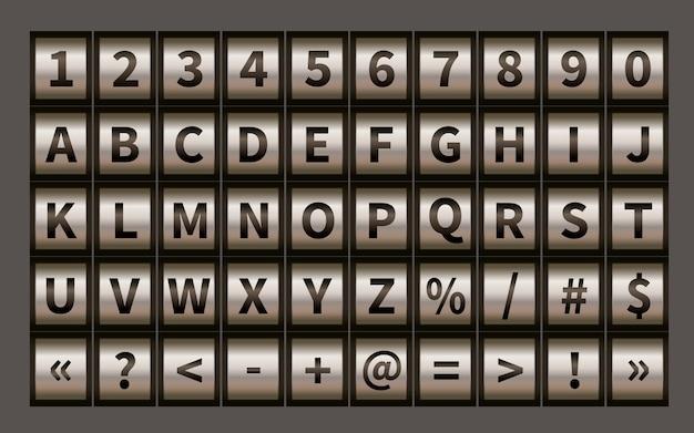 Fonte de roda de letra, símbolos de cadeado de código com números Vetor Premium