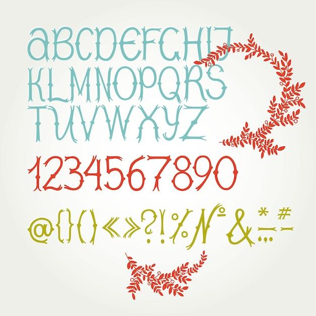 Fonte de script manuscrita. limpe a fonte. letras maiúsculas, números, pontuação Vetor grátis