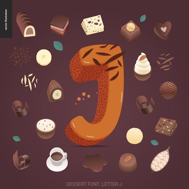 Fonte de sobremesa - letra j Vetor Premium