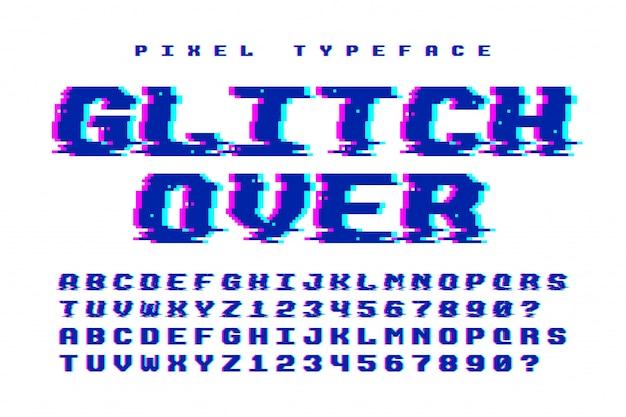 Fonte de vetor de pixel com efeito de falha. 2 em 1 Vetor Premium