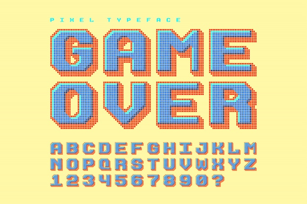 Fonte de vetor de pixel, estilizada como em jogos de 8 bits Vetor Premium