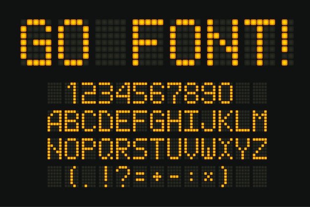 Fonte digital. composto amarelo para display eletrônico Vetor Premium