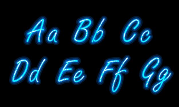 Fonte do alfabeto de néon em azul Vetor Premium