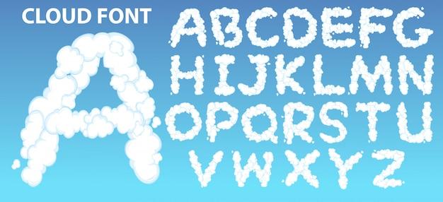 Fonte do alfabeto inglês de nuvem Vetor grátis
