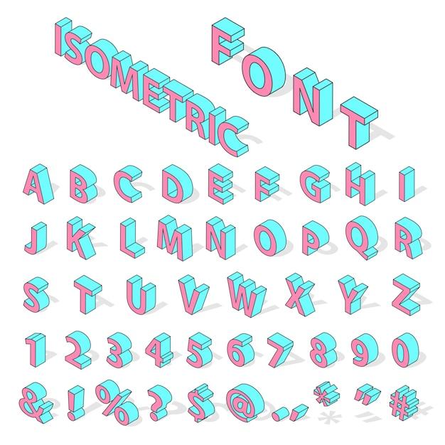 Fonte do alfabeto isométrica Vetor Premium