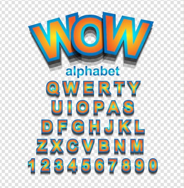 Fonte do alfabeto laranja com letras e números Vetor Premium