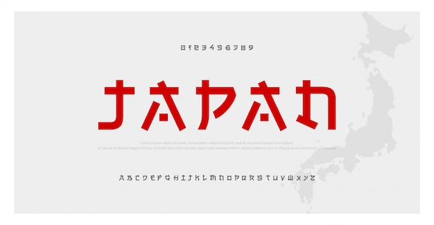 Fonte do alfabeto moderno japonês. fontes asiáticas do japão Vetor Premium