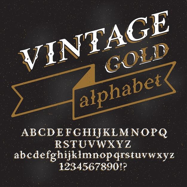 Fonte do alfabeto vintage retrô. letras e números personalizados em um fundo escuro de grunge. Vetor Premium