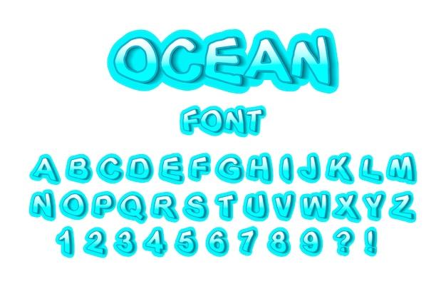 Fonte do oceano, números e letras turquesas Vetor Premium
