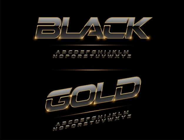 Fonte elegante do alfabeto do metal do esporte. Vetor Premium