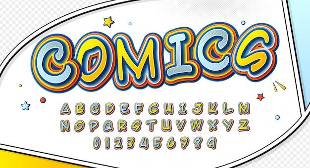 Fonte em quadrinhos. alfabeto de desenho animado na página de quadrinhos Vetor Premium