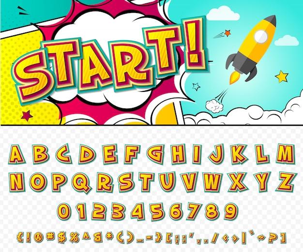 Fonte em quadrinhos. alfabeto dos desenhos animados no estilo da pop art. Vetor Premium