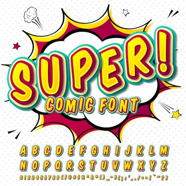 Fonte em quadrinhos. alfabeto verde-amarelo no estilo de quadrinhos, arte pop. letras e figuras dos desenhos animados de multicamadas Vetor Premium