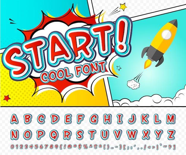 Fonte em quadrinhos. alfabeto vermelho-azul no estilo de quadrinhos, arte pop. letras e figuras dos desenhos animados de multicamadas Vetor Premium