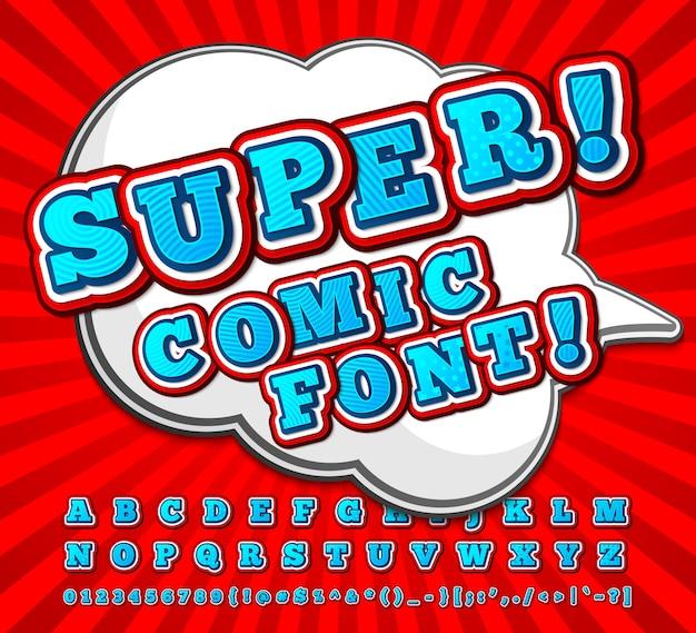 Fonte em quadrinhos vermelho-branco alto detalhe Vetor Premium
