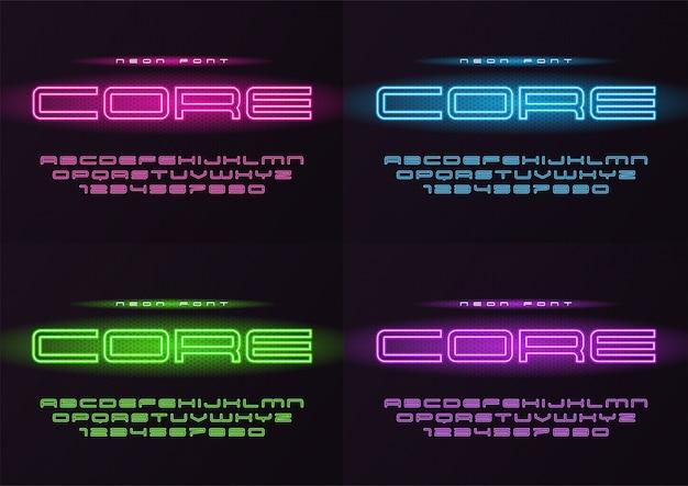 Fonte futurista de néon brilhante central, tipo de letra, alfabeto, le Vetor Premium