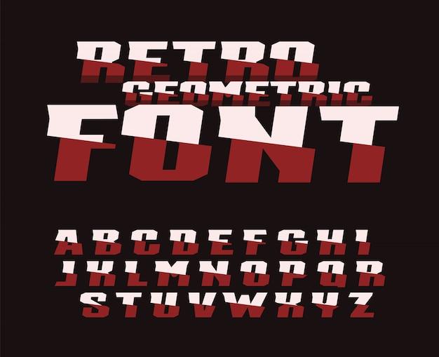Fonte geométrica retrô. design de tipografia. Vetor Premium