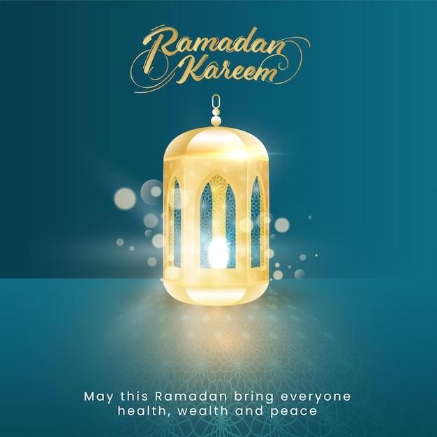 Fonte golden ramadan kareem com lanterna iluminada em fundo azul bokeh Vetor Premium