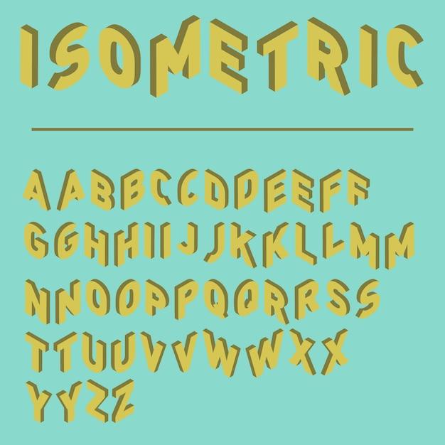 Fonte isométrica com duas versões de cada letras, fonte do jogo, tipo de letra colorido Vetor Premium