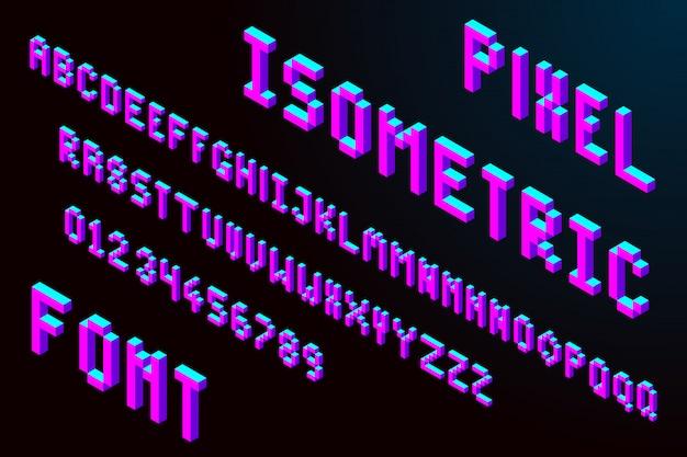 Fonte isométrica de pixel 3d Vetor Premium