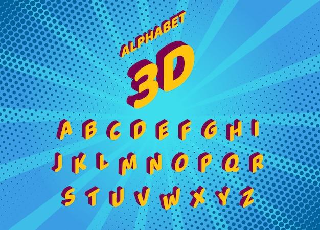 Fonte isométrica de quadrinhos desenhos animados. conjunto de letras e números isolados. alfabeto Vetor Premium