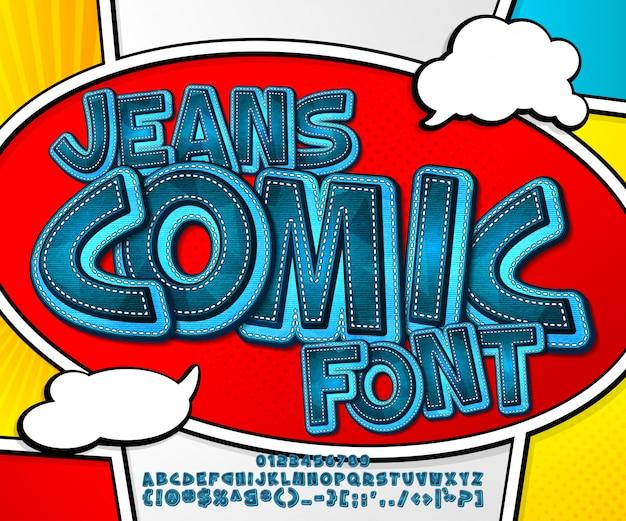 Fonte jeans azul na página do livro de quadrinhos. alfabeto em estilo pop art. letras e figuras de várias camadas de jeans de desenho animado Vetor Premium