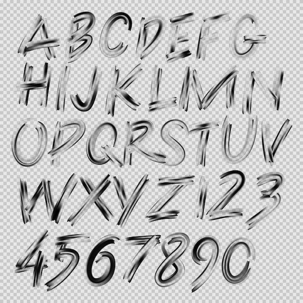 Fonte manuscrita do pincel, letras e números, ilustração Vetor Premium